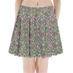 Ivy And  Holm Oak With Fantasy Meditative Orchid Flowers Pleated Mini Skirt