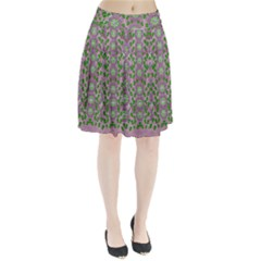 Ivy And  Holm Oak With Fantasy Meditative Orchid Flowers Pleated Skirt