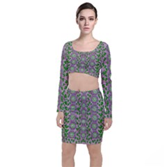 Ivy And  Holm Oak With Fantasy Meditative Orchid Flowers Long Sleeve Crop Top & Bodycon Skirt Set by pepitasart