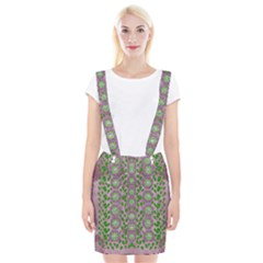 Ivy And  Holm Oak With Fantasy Meditative Orchid Flowers Braces Suspender Skirt
