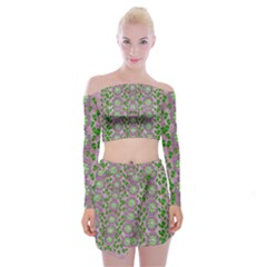 Ivy And  Holm Oak With Fantasy Meditative Orchid Flowers Off Shoulder Top With Mini Skirt Set
