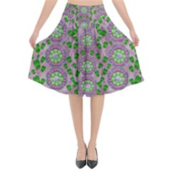 Ivy And  Holm Oak With Fantasy Meditative Orchid Flowers Flared Midi Skirt