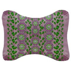 Ivy And  Holm Oak With Fantasy Meditative Orchid Flowers Velour Seat Head Rest Cushion by pepitasart