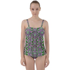 Ivy And  Holm Oak With Fantasy Meditative Orchid Flowers Twist Front Tankini Set