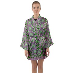 Ivy And  Holm Oak With Fantasy Meditative Orchid Flowers Long Sleeve Kimono Robe