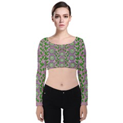 Ivy And  Holm Oak With Fantasy Meditative Orchid Flowers Velvet Crop Top