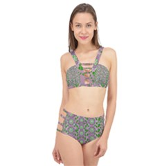 Ivy And  Holm Oak With Fantasy Meditative Orchid Flowers Cage Up Bikini Set