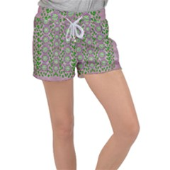 Ivy And  Holm Oak With Fantasy Meditative Orchid Flowers Women s Velour Lounge Shorts