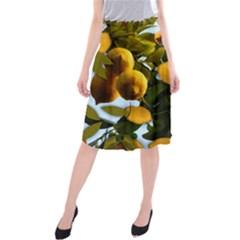 Lemon Tree Pattern Midi Beach Skirt