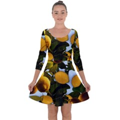 Lemon Tree Pattern Quarter Sleeve Skater Dress