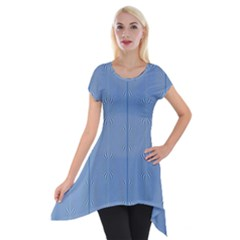 Mod Twist Stripes Blue And White Short Sleeve Side Drop Tunic