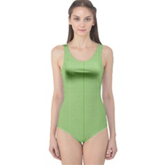 Mod Twist Stripes Green And White One Piece Swimsuit