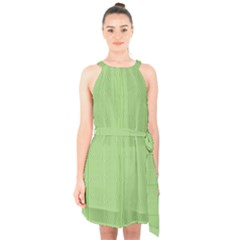 Mod Twist Stripes Green And White Halter Collar Waist Tie Chiffon Dress