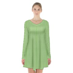 Mod Twist Stripes Green And White Long Sleeve Velvet V Neck Dress
