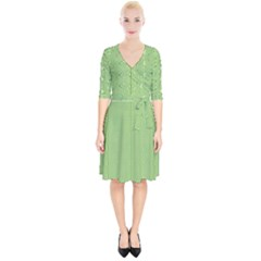 Mod Twist Stripes Green And White Wrap Up Cocktail Dress