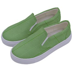 Mod Twist Stripes Green And White Kids  Canvas Slip Ons by BrightVibesDesign