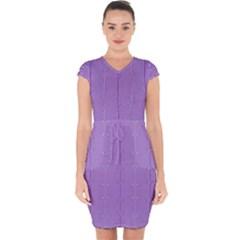 Mod Twist Stripes Purple And White Capsleeve Drawstring Dress