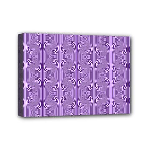 Mod Twist Stripes Purple And White Mini Canvas 7  X 5