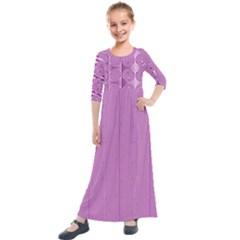 Mod Twist Stripes Pink And White Kids  Quarter Sleeve Maxi Dress