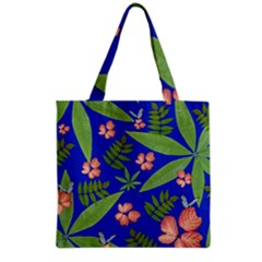 Leaves On Blue Grocery Tote Bag