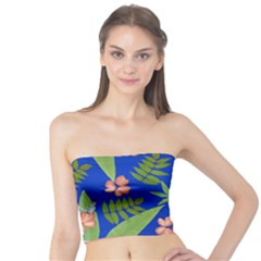 Leaves On Blue Tube Top