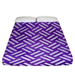 Woven2 White Marble & Purple Brushed Metal Fitted Sheet (king Size)