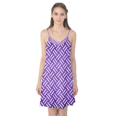 Woven2 White Marble & Purple Brushed Metal Camis Nightgown