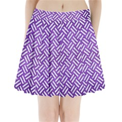 Woven2 White Marble & Purple Brushed Metal Pleated Mini Skirt