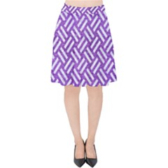Woven2 White Marble & Purple Brushed Metal Velvet High Waist Skirt