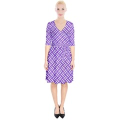 Woven2 White Marble & Purple Brushed Metal Wrap Up Cocktail Dress