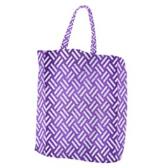 Woven2 White Marble & Purple Brushed Metal Giant Grocery Zipper Tote