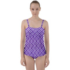 Woven2 White Marble & Purple Brushed Metal Twist Front Tankini Set