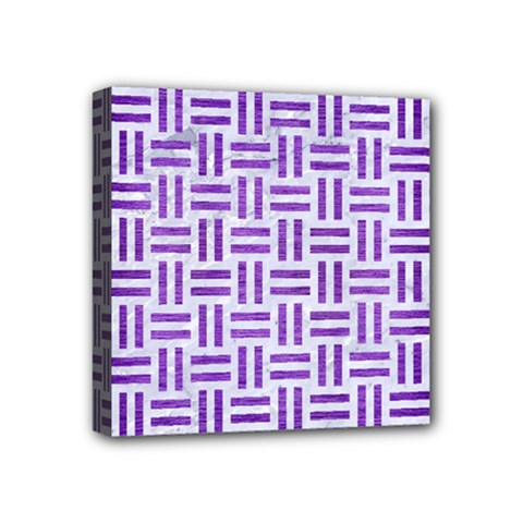 Woven1 White Marble & Purple Brushed Metal (r) Mini Canvas 4  X 4