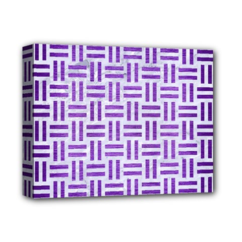 Woven1 White Marble & Purple Brushed Metal (r) Deluxe Canvas 14  X 11