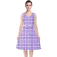Woven1 White Marble & Purple Brushed Metal (r) V Neck Midi Sleeveless Dress
