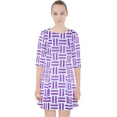 Woven1 White Marble & Purple Brushed Metal (r) Pocket Dress