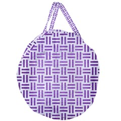 Woven1 White Marble & Purple Brushed Metal (r) Giant Round Zipper Tote