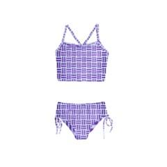 Woven1 White Marble & Purple Brushed Metal (r) Girls  Tankini Swimsuit