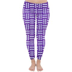 Woven1 White Marble & Purple Brushed Metal Classic Winter Leggings