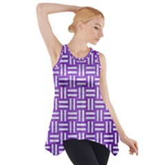Woven1 White Marble & Purple Brushed Metal Side Drop Tank Tunic