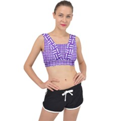 Woven1 White Marble & Purple Brushed Metal V Back Sports Bra