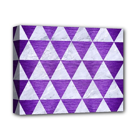 Triangle3 White Marble & Purple Brushed Metal Deluxe Canvas 14  X 11  by trendistuff