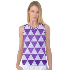 Triangle3 White Marble & Purple Brushed Metal Women s Basketball Tank Top