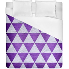 Triangle3 White Marble & Purple Brushed Metal Duvet Cover (california King Size)