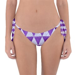 Triangle3 White Marble & Purple Brushed Metal Reversible Bikini Bottom