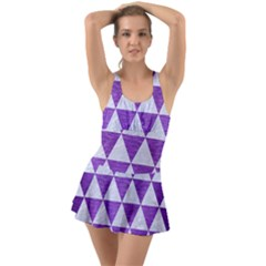 Triangle3 White Marble & Purple Brushed Metal Ruffle Top Dress Swimsuit