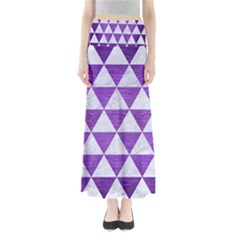 Triangle3 White Marble & Purple Brushed Metal Full Length Maxi Skirt