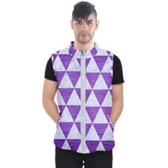 Triangle3 White Marble & Purple Brushed Metal Men s Puffer Vest