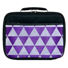 Triangle3 White Marble & Purple Brushed Metal Lunch Bag