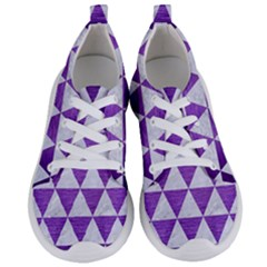 Triangle3 White Marble & Purple Brushed Metal Women s Lightweight Sports Shoes